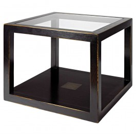 Glass Top Black Lacquer Cube Table