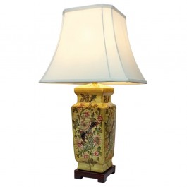 Pair of Oriental Table Lamps - Golden Pillar