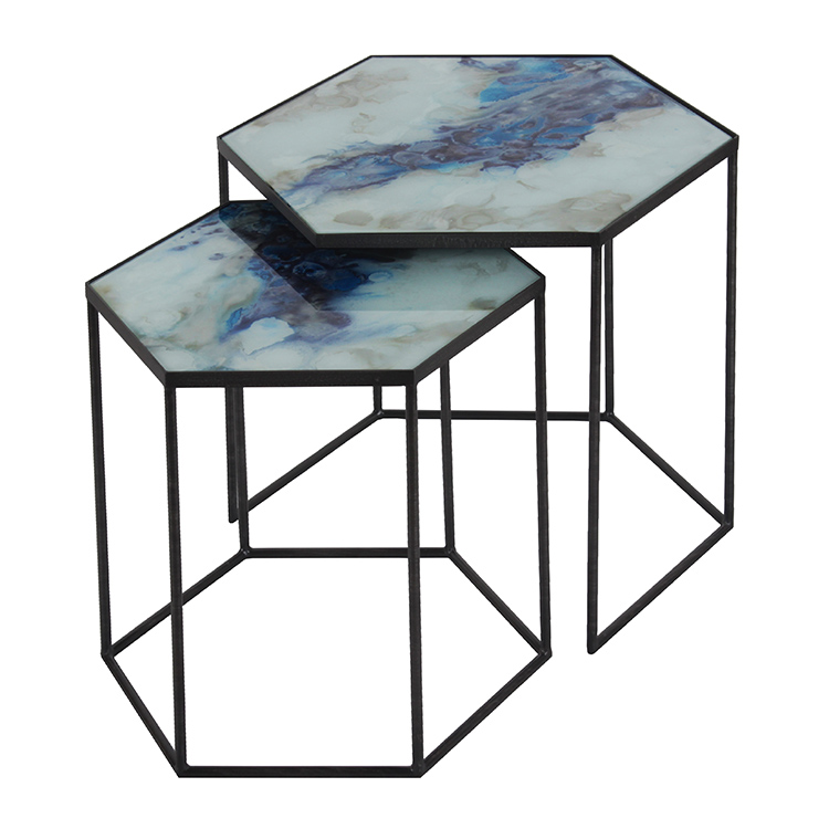 ... Blue Mist Organic Nesting Side Tables. Image 1
