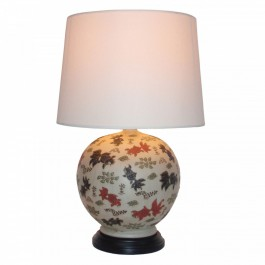 Pair of Round Oriental Table Lamps - Goldfish