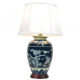 Pair of Oriental Table Lamps - Blue Blossom