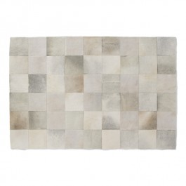 Leather Hide Rug - Silver Squares