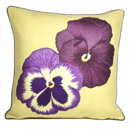 Embroidered Cushion - Pansies