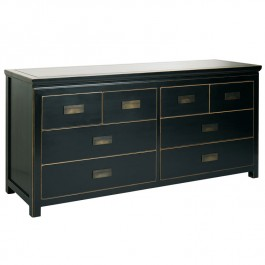 Black Lacquer Chinese Chest of 8