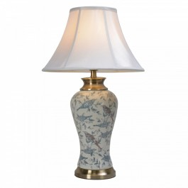 Pair of Oriental Table Lamps - Birds Collage