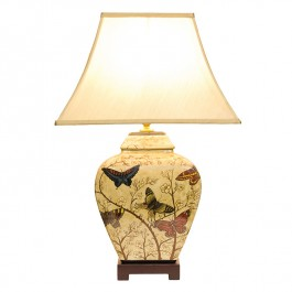 Pair of Oriental Table Lamp Butterfly Blossom
