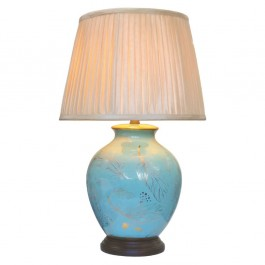 Pair of Oriental Table Lamps - Turquoise Feather
