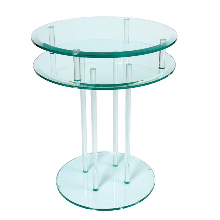 Greenapple Round Glass Occasional Table Double Modern Glass Interiors