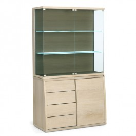 Skovby Glass & White Oiled Oak Display Cabinet #752-762