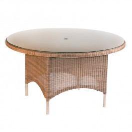 Woven Glass Top Round Table - Valencia Sand