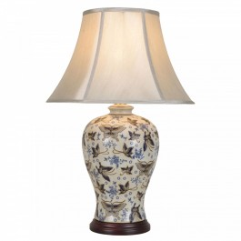 Pair of Oriental Table Lamps - Ivory Butterflies