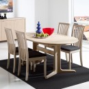 Skovby White Oiled Oak Dining Chair #66 (lifestyle, shown here with 'Skovby Oak Extending Dining Table Ellipse #17')