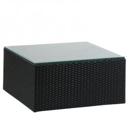 Woven Glass Top Ottoman - Ebony