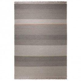 Grey Striped Woollen Rug - Heringbone