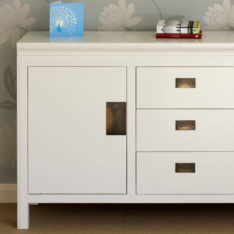 White Chinese Lacquer Sideboard Large 4 Living Interiors