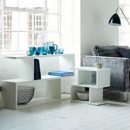 Conran Balance White Console Table (lifestyle, shown here with Conran Balance White Side Table)
