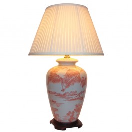 Pair of Red Oriental Table Lamps - Willow