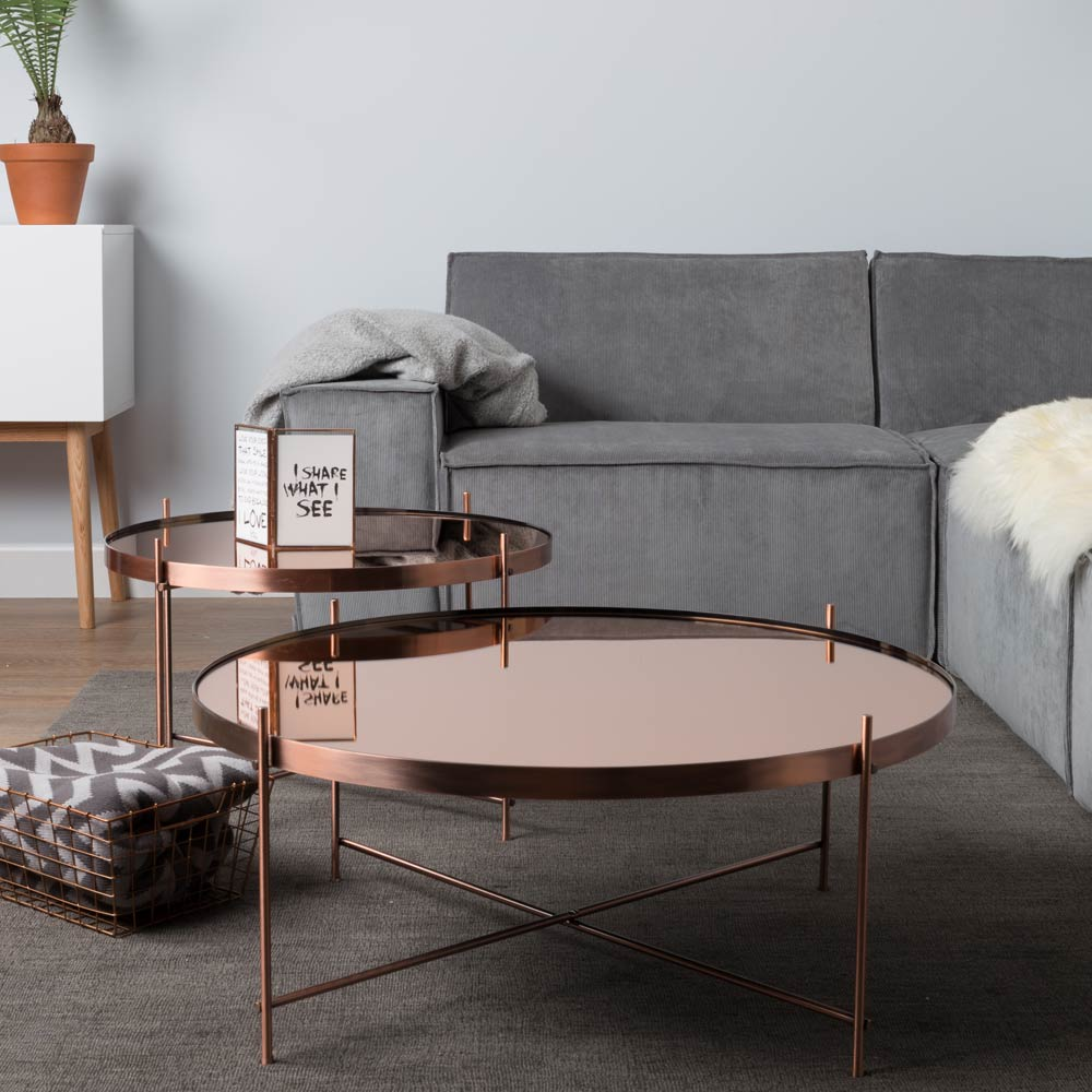 Zuiver Cupid Copper Round Mirrored Glass Coffee Table | 4 Living