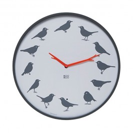KooKoo Modern Bird Song Wall Clock Grey