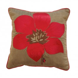 Embroidered Mocha Cushion - Day Lily